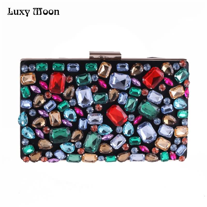 Luxy Moon Evening Bags Diamond Beaded Gem Stone Black Women's Purse Wedding Wallet for Women Shoulder Bags with Two Chain ZD636 карабин black diamond black diamond rocklock twistlock