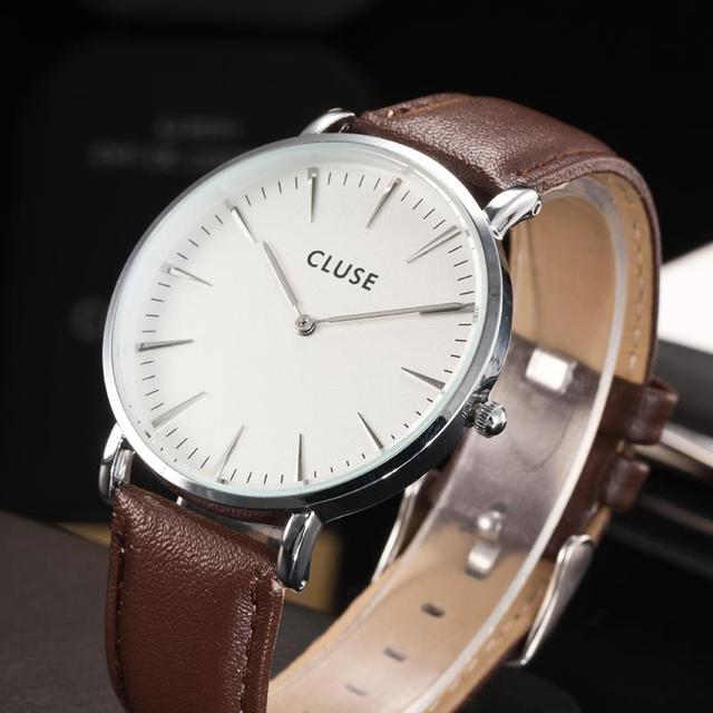 Très Cluse Quartz Watch Men Famous Brand Gold Leather Band Wrist  ZW85