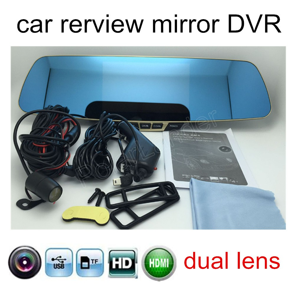 Car-Rearview-Mirror-Dvr Parking-Backup-Camera Mirror-Monitor Dual-Lens With HD 5inch