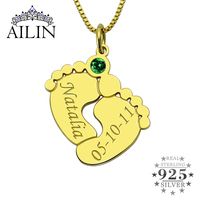 AILIN Personalized Baby Feet Necklace with Birthstone Gold Color Baby Feet Pendant for New Mom Birthstone Mother Date Jewelry