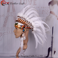 Chief Indian Feather Headdress Native American Headdress Indian Feather Costumes War Bonnet Hat Indian Headdress Of