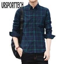 URSPORTTECH Brand New Cotton Plaid Shirt Men Fashion Long Sleeve Casual Shirts Outerwear Spring Autumn Plus Size M-4XL