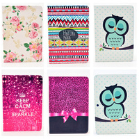 Fashion Rose Owl Pattern Wallet Flip PU Leather Tablet Protectiv Shell Back Cover For Samsung Galaxy