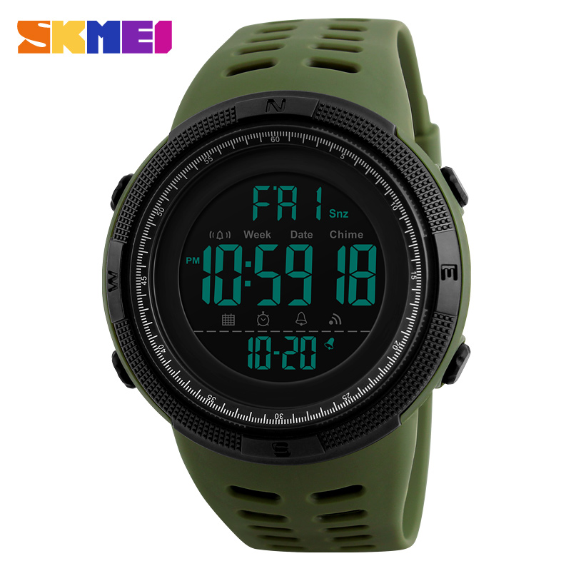 SKMEI Men Sports Watch Dual Time Watches Alarm Clock Countdown Montre homme 50M Waterproof Relogio Masculino Relogio 1251