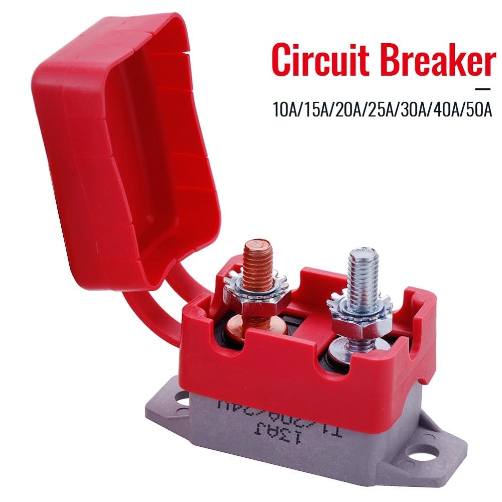 MagiDeal 10Amp Auto Reset 12V 24V Circuit Breaker Car Automatic Fuse Metal Stud Bolt Type