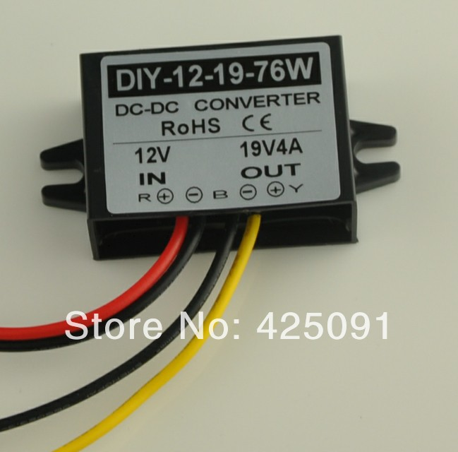 Converter 12V(9 19V) Step up to 19V 4A 76W Waterproof DC/DC power Regulator RoSH CE