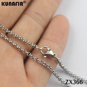 """Image 5 - 200 pz 14 """" 38"""" collana in acciaio inox 2.5mm rotonda rolo link catene parti di gioielli delle donne di modo ZX366"""
