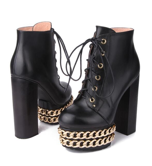 sexy woman gold chain high chunky heel platform boots cow Leather punk style cool woman lace up chain ankle boots platform boots womens punk ankle boots chunky heels platform side zip leather moto shoes woman high heel thick heel platform motrocycle boot