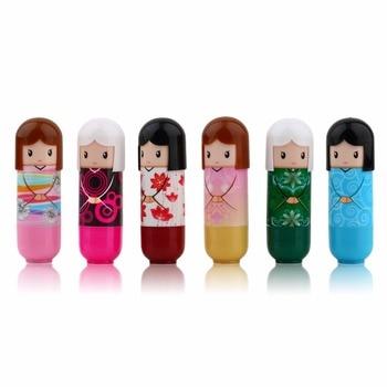 6pcs Cartoon Doll Moisturizing Lip Balm Korean Cosmetics Lovely Pattern Gift Colorful Kawaii Present For Girl Lady