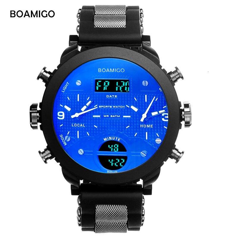 Männer sport uhren BOAMIGO marke männer uhren 3 zeitzonen gummi LED digitaluhr militärische quarz armbanduhren geschenk box F905