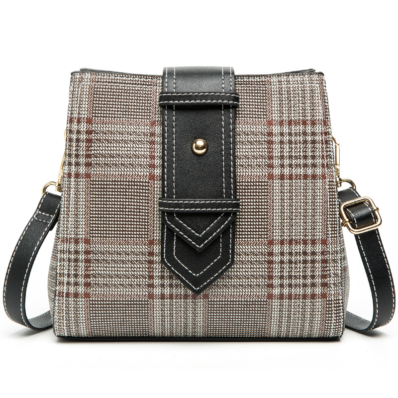 Shoulder Handbags Plaid-Bucket-Bag Messenger-Bags Canvas High-Quality Women Feminina