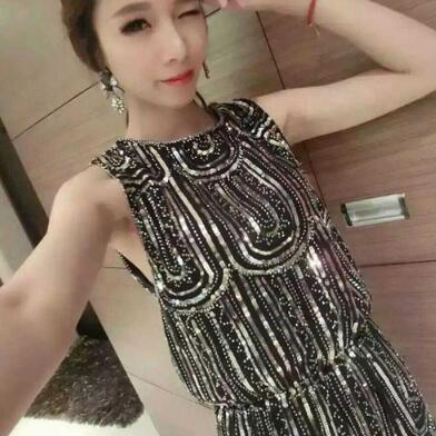Top fashion Wome club sequied dress new sexy slim feminine sequins dress sleevelss Summer white silver dress vestido wx163