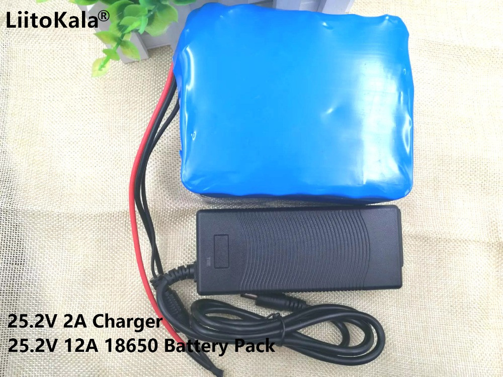 24V 12Ah Electric Vehicle Special <font><b>Battery</b></font> 18650 12000mah 25.2V Lithium Ion <font><b>Battery</b></font> Standby Portable + 24V (25.2V) 2A Charger image