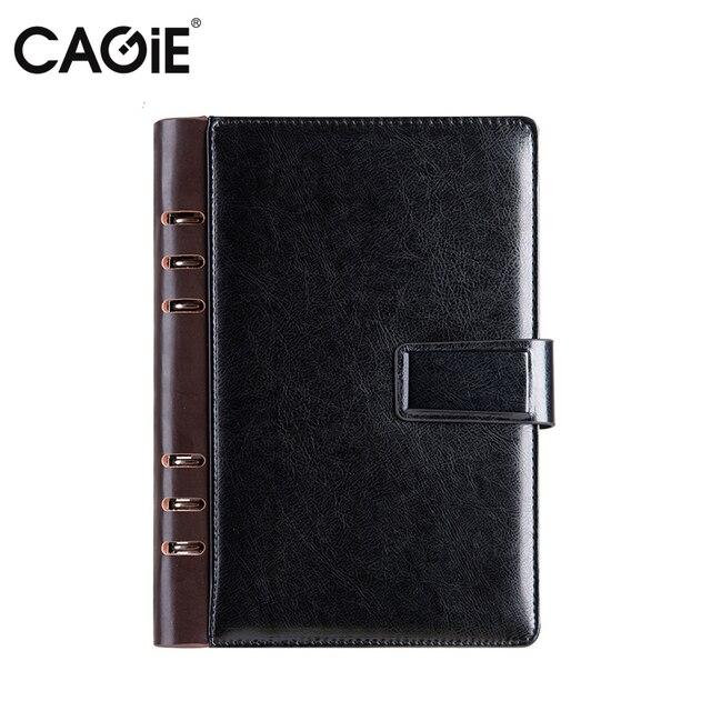 a6 Planner Cagie Diary 2018 a5 Binder Spiral Notebook Vintage Black Leather Journal Organizer Agenda Office School Filofax