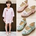 2017 primavera nuevas chicas arco de encaje princesa de la manera de cuero shoes niños grandes dance shoes niños party shoes school shoes
