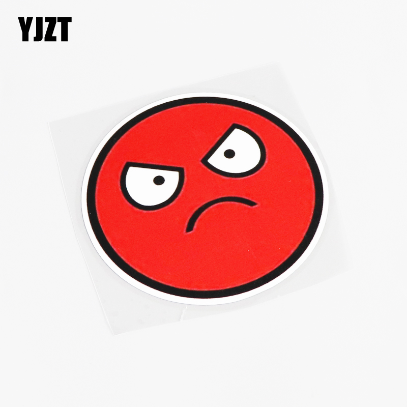 YJZT 10.1CM*10.1CM Cartoon JDM Emoticon <font><b>Angry</b></font> Emot Mad <font><b>Car</b></font> <font><b>Sticker</b></font> Decal Accessories PVC 13-0318 image