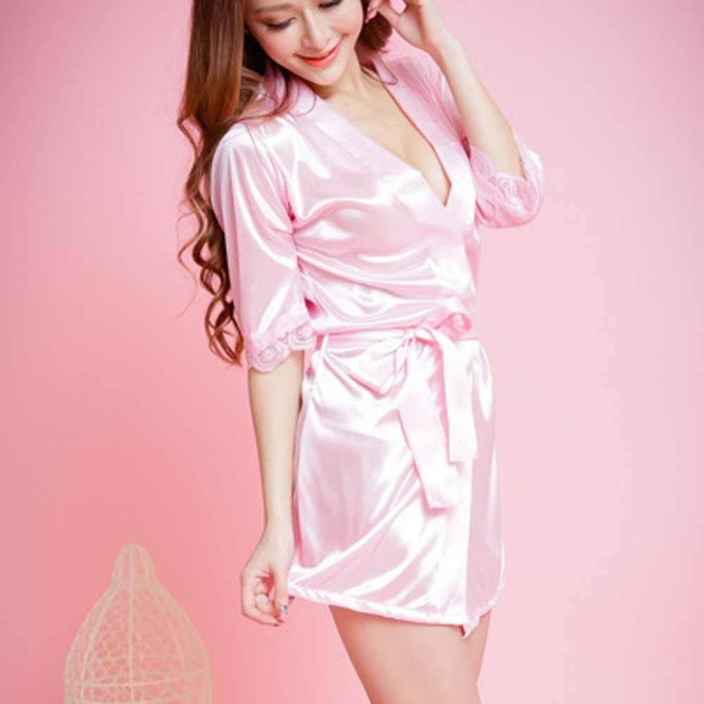 79a408972d ... Sexy Lace Silk Bridesmaid Bride Robe Women Short Satin Wedding Kimono  Bathrobe Sleepwear Nightgown Elegant Pajamas