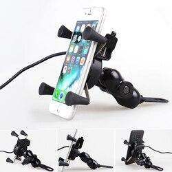 Uchwyt na telefon do motocykla ładowarka USB do telefonu iPhone X 8 7 Plus 4 do 6.5 cala telefon komórkowy Suport 360 stopni uchwyt motocyklowy typu X
