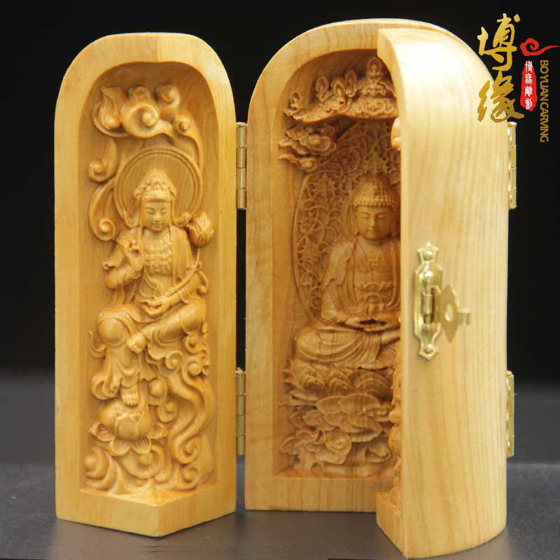 Exquisite wood carvings india style trinity western goddess buddha