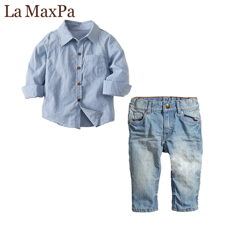 LaMaxPa hot sale Babyboy Full Striped Turn-down Collar clothes Brand kids clothes sets t-shirt+pants Clothes newborn sport suits