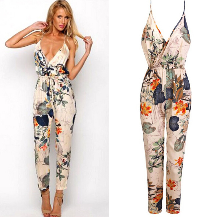 2015 sexy women jumpsuit loose romper printed cotton