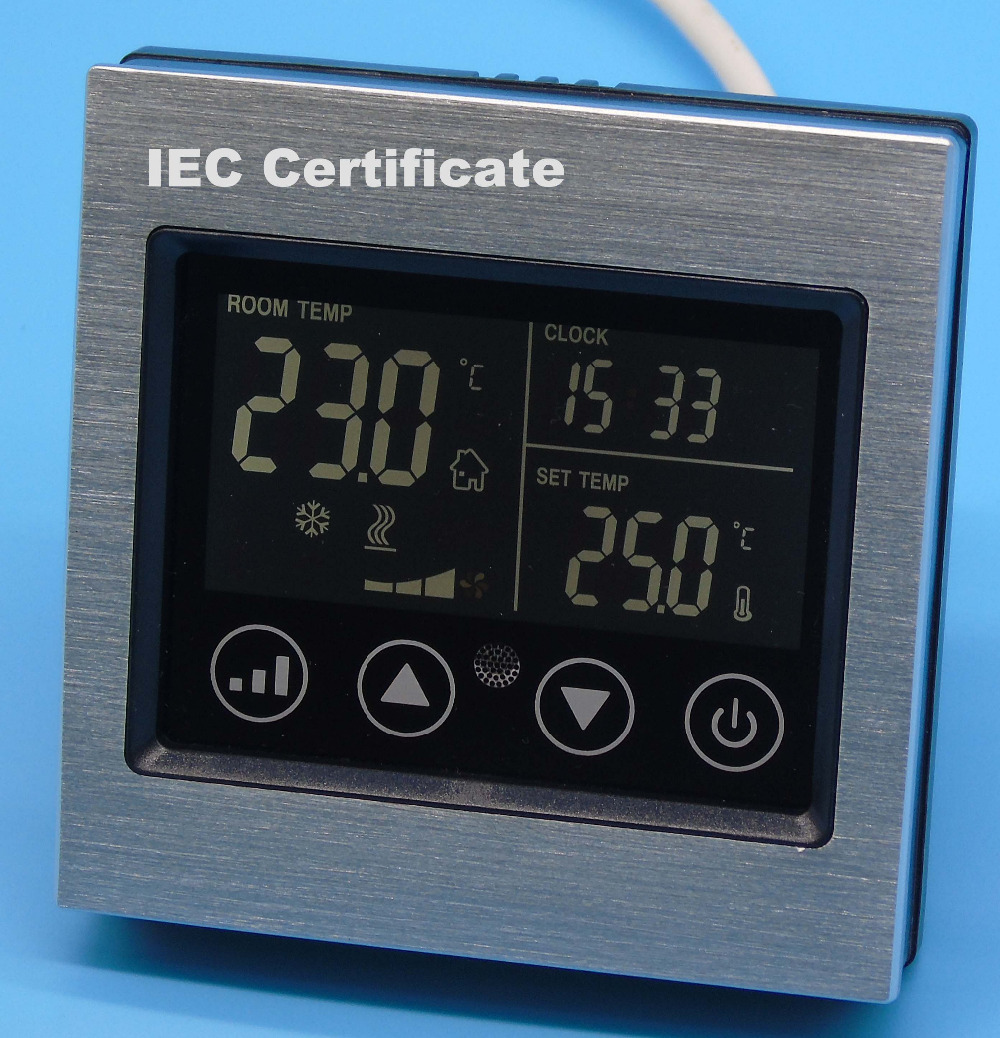 IEC Certificate programmable timer Smart touch screen Fan coil thermostat With Aluminum alloy wire drawing silver iec certificate programmable timer smart touch screen fan coil thermostat with aluminum alloy wire drawing silver