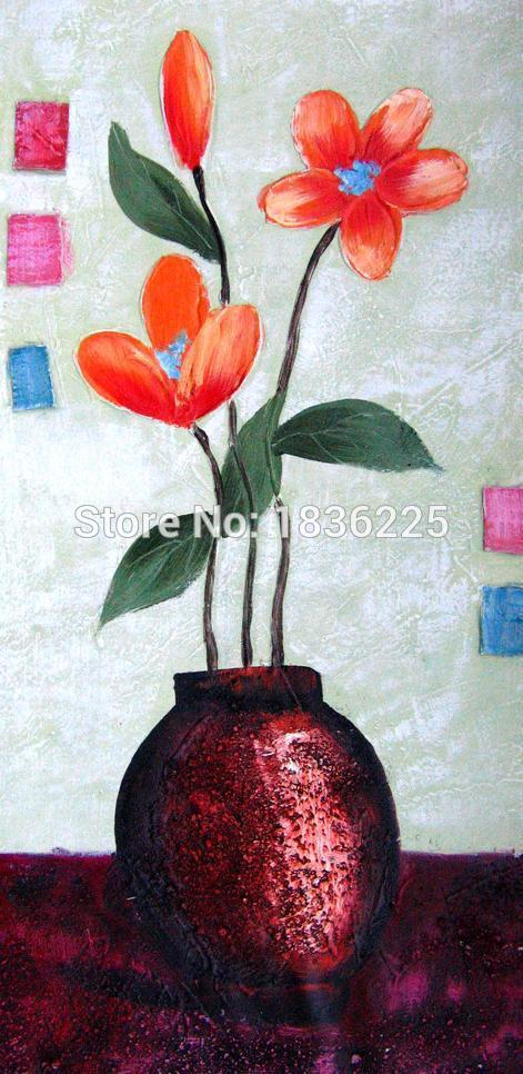 Free Shipping Printed Oil Painting On Canvas Fabric Flower Design Wall Art Red Background White