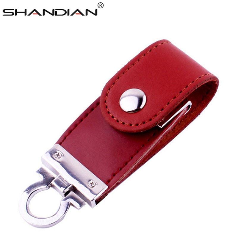 SHANDIAN Hot Sell Metal Leather Keychain Pendrive Usb Flash Drive 64gb 32GB 16gb 4GB Commercial Usn Flash Drive Memory Stick Usb