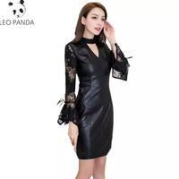 Spring Lace Patchwork PU Leather Women Dresses Black Chocker Neck Long Flare Sleeve Sexy Slim Vintage Party Lady Dresses LCY1126