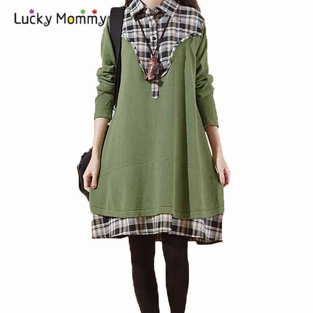2017 New Autumn Winter Clothes for Pregnant Women Plus Size Plaid Stitching Maternity Dresses Loose Casual Pregnant Dress M-XXL