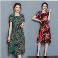 Szyfonowa Druku Sukienka Z Krótkim Rękawem 2017 Nowy Retro Eleganckie Panie w długi Tworząc Kod Lato slimTide side podział mody plus size