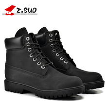 Big Size:39-45 Black Men Boots Z.SUO Brand PU Leather Boots Men Botas Hombre Bota Masculina Lace Up Ankle Boots Men 45