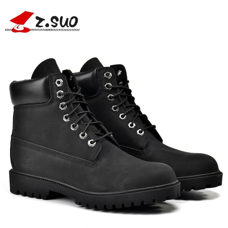 ZSUO ยี่ห้อ Big ขนาด: 39 45 สีดำรองเท้าบุรุษรองเท้าหนัง PU รองเท้าผู้ชาย Botas Hombre Bota Masculina Lace Up ข้อเท้ารองเท้าผู้ชาย 45-ใน รองเท้าบูทแบบเบสิก จาก รองเท้า บน   1