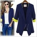Plus Size Spring Autumn 2015 New Elegant Ladies Suit Jacket Blazer Female Half Sleeve Blazer Feminino Veste Femme White YB475