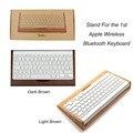 2016 de lujo conjunto titular de soporte de madera de bambú del teclado para apple macbook del ordenador portátil teclado bluetooth inalámbrico