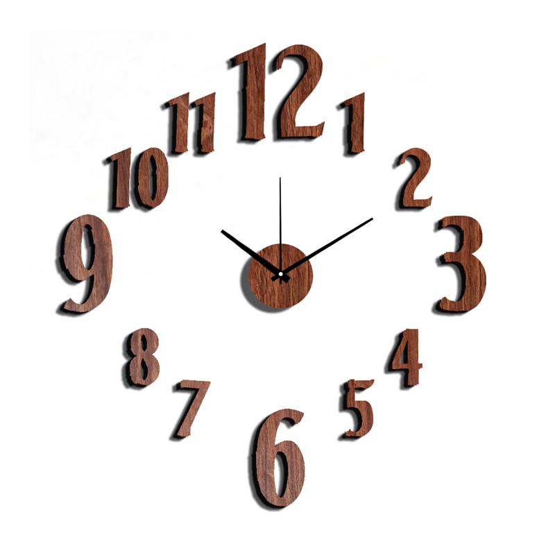 10EW106 Fashion Sticker EVA Numerals Kitchen Wall Clock Wood Colour Large Decorative 3D Diy Wall Clock Big