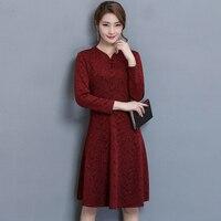 Новые осенние Для женщин платье длинный рукав Мать наряд Лаоса 40 50 Платья для женщин цвет красного вина темно-7118