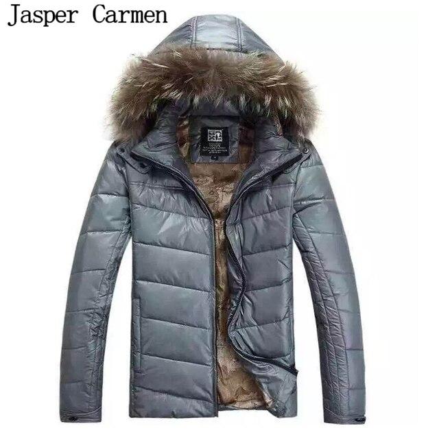 Бесплатная доставка 2017 новый зимняя Куртка для мужчин с капюшоном пальто случайные мужские толстый слой мужской тонкий дополняется вниз верхняя одежда Размер М-2XL