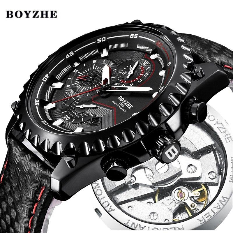 Для мужчин новый автоматические механические часы для мужчин s Топ Элитный бренд Военная Униформа спортивные кожаные мужские водонепрониц...
