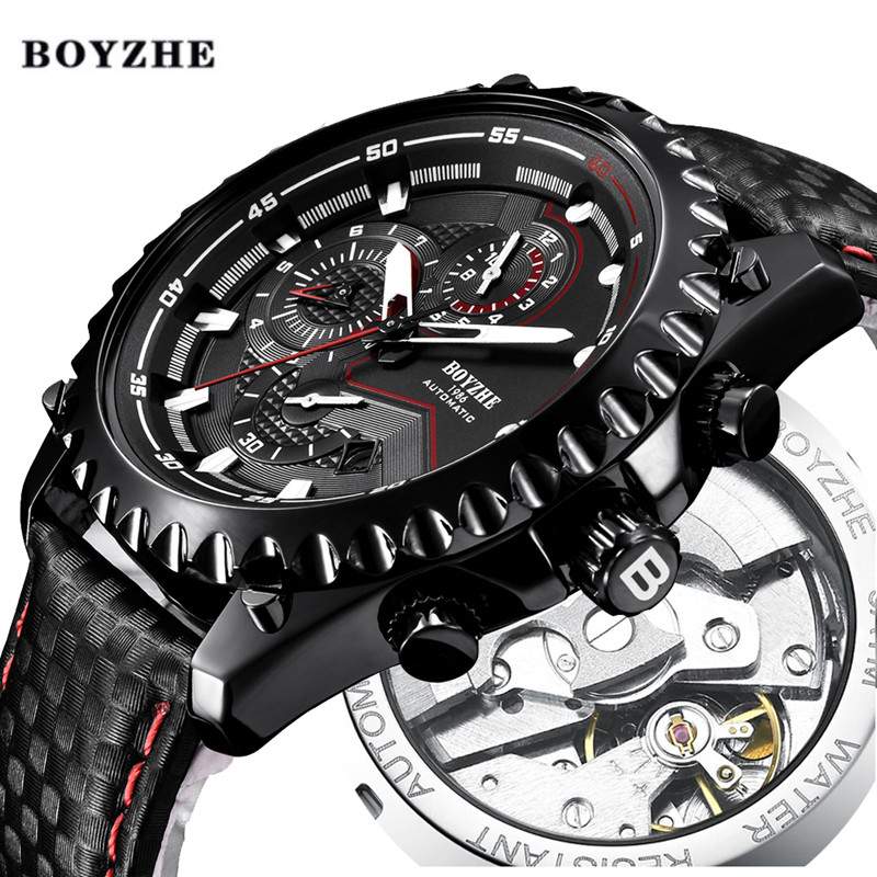 Hombres Nuevos mecánico automático reloj para hombre de marca de lujo de la mejor deporte militar de hombre de cuero muñeca impermeable relojes reloj Masculino