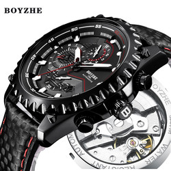 Men New Automatic Mechanical Watch Mens Top Luxury Brand Military Sports Leather Male Waterproof Wrist Watches Relogio Masculino