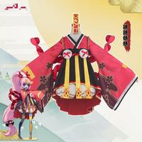 Onmyoji Japanese Zombie Chan Cosplay Little Jump Sister Red Kimono Dress Costume Japanese Uniform Game Cosplay