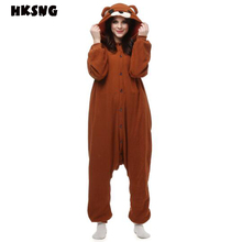 HKSNG 새로운 성인 갈색 테디 베어 Kigurumi Onesies 귀여운 잠옷 겨울 동물 크리스마스 코스프레 잠옷
