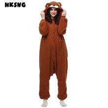 HKSNG yeni yetişkin kahverengi ayıcık Kigurumi Onesies sevimli pijama kış hayvan noel Cosplay pijama