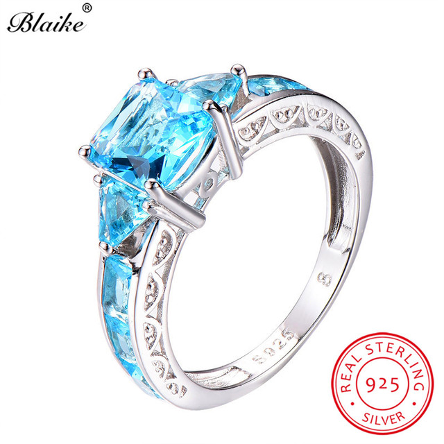 e9fa98263618f Aliexpress.com : Buy Blaike Unique Aquamarine Square Rings For Women 925  Sterling Silver Light Blue Crystal Zircon Birthstone Ring Female Jewelry  from ...
