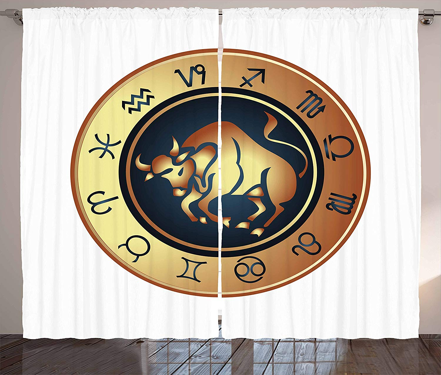 Zodiac Taurus Curtains Circle With Twelve Signs Bull Icon In The Middle Future Cosmos Living Room Bedroom Window Drapes Pale