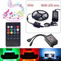 RGB Светодиодные ленты гибкий свет DC12V 5 м SMD5050 5 м/roll + 20 Ключи Музыка ИК-пульт DC12V адаптер домашний декоративный свет