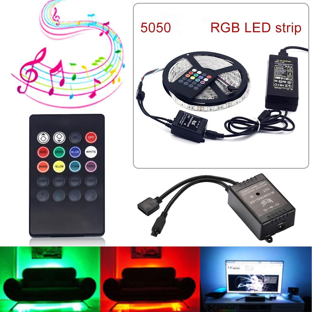 RGB LED Strip Flexible Light DC12V 5M SMD5050 5m/roll + 20 Keys music IR Remote Controller DC12V adapter Home Decoration Light