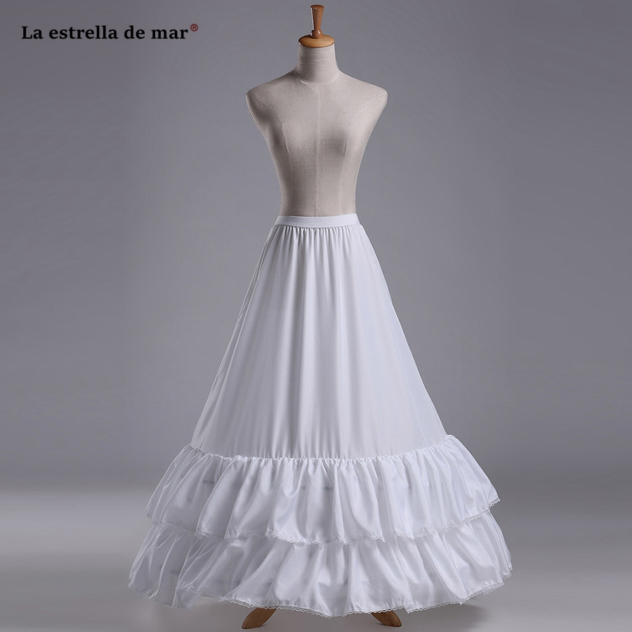 La Estrella De Mar Enaguas Para El Vestido De Boda New 2hoops 2 Layer Fabric Ruffle A Line White Petticoat Woman Long Jupon With The Best Service