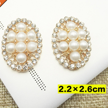 2.2x2.6cm 5pcs lot Craft Pearl Crystal Rhinestone Buttons Oval Cluster  Flatback Wedding Embellishment 32a9795b1a35